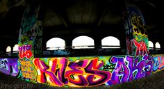 """An old """"vandalized"""" Rochester, NY subway tunnel makes for beautiful art. #graffiti #photography"""