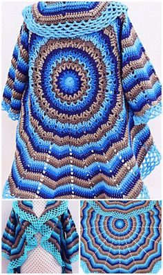 Crochet Fast And Easy Coat For Women - Knitting Manualidades Crochet Cape Pattern, Crochet Coat, Crochet Jacket, Crochet Clothes, Easy Crochet, Free Crochet, Crochet Patterns, Crochet Ideas, Crochet Shawls And Wraps