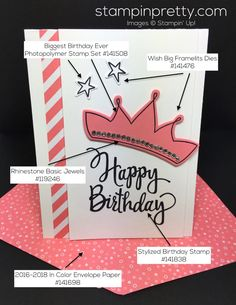Stampin Up Wish Big Biggest Birthday Ever Card Envelope Paper - Mary Fish StampinUp Supply List