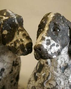 Ceramics by Lesley Martin at Studiopottery.co.uk - 2012. Portrait of Two Cocker spaniels