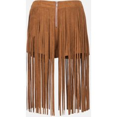 Sans Souci Camel faux suede fringe over shorts ($33) ❤ liked on Polyvore featuring shorts, camel, suede fringe shorts, sans souci, camel shorts and faux-leather shorts