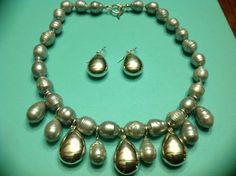 Simon Sebbag SSD 925 Sterling & Gray Pearl Bib Necklace and Earrings Demi by SweetBettysBling on Etsy