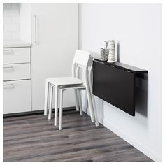 BJURSTA Brown-Black Wall-mounted drop-leaf table BJURSTA Wall-mounted drop-leaf table IKEA Becomes a practical shelf for small things when folded down.BJURSTA Wall-mounted drop-leaf table IKEA Becomes a practical shelf for small things when folded down. Bjursta Table, Fold Down Desk, Fold Up Table, Drop Down Desk, Ikea Desk, Ikea Folding Desk, Folding Table Diy, Folding Walls, Folding Furniture