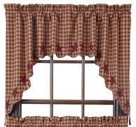 Add country flair to your home with our Burgundy Star Scalloped Lined Swag Curtains! https://www.primitivestarquiltshop.com/products/burgundy-star-scalloped-lined-swag-curtains #countrystylecurtains