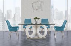 Dining Table in White - Global Furniture USA (M)With its artistic design and geometric style this elegant dining table is just what your dining room needs. Featuring sculptural legs in a white finish, rectangular glass top with a chromed base to f Glass Top Dining Table, Kitchen Tables, Dining Tables, Swivel Dining Chairs, Contemporary Dining Table, Contemporary Style, Grey Table, Elegant Dining, Dining Room Sets