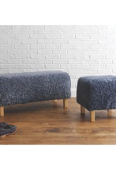 Habitat - LAMBA Grey sheepskin bench