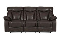 Zimmerman Dark Brown Faux Leather Motion Sofa