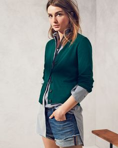 J.Crew women's Collection v-neck cashmere cardigan and denim short in dark von wash....i have the perfect vintage green sweater to recreate this look :)