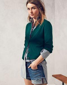 J.Crew women's Collection v-neck cashmere cardigan and denim short in dark von wash.