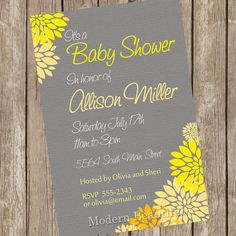 Neutral Baby Shower Invitation Yellow and Grey Flower Printable Personalized