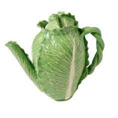 Glazed Majolica Cabbage Teapot