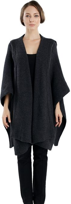 Voluminous Rib-Knit Cardigan - Perfect to look neat and be comfortable. London College Of Fashion, Knitted Poncho, Free Clothes, Sweater Weather, Cable Knit, Rib Knit, Knitwear, Knit Crochet, Ideias Fashion
