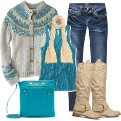 """Cold Weather Turquoise"" by debbie-probst on Polyvore"