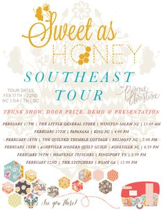 come see us on the sweet as honey southeast tour!