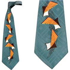 1950s Extra Wide Silk Necktie Surrealistic Print Mid Century from toinetterl on Ruby Lane