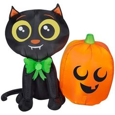 Halloween Airblown Inflatable Kitty Cat Pumpkin LED Lighted Outdoor Party Decor #HalloweenAirblownInflatableKittyCatPumpkin Cat Pumpkin, Tweety, Disney Characters, Fictional Characters, Kitty, Led, Halloween, Cats, Outdoor