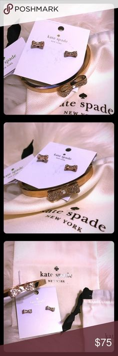 💕Kate Spade Ready Set Bow Earrings & Bangle Set Brand new, Authentic Kate Spade Ready Set Bow Earrings and Bangle Set. These items have NEVER been used. Still have their tags attached. Comes with original dust cover and shopping bag. Clear Rhinestones and Rose Gold Tone. I have (1) available.   ***Price is Firm*** NO LOWBALL. FINAL SALE. Bundle and Save! PoshMark Only!  🚫No Trade🚫  Please DO NOT comment about price. kate spade Jewelry