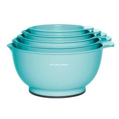 KitchenAid Aqua Sky Mixing Bowl Set, Turquoise/Blue (Turq/Aqua) by: KitchenAid Cooking Supplies, Kitchen Supplies, Kitchen Items, Kitchen Gadgets, Kitchen Stuff, Kitchen Things, Kitchen Products, Kitchen Appliances, Aqua Kitchen