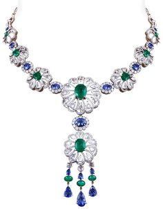 Entice Emerald & Blue Sapphire Morning Glory Flower Necklace