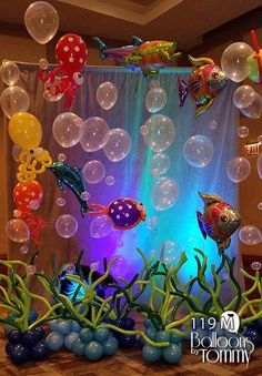 Balloons by Tommy - Balloon Room Decor - .- Luftballons von Tommy – Balloon Room Decor – Balloons by Tommy – Balloon Room Decor - Little Mermaid Birthday, Little Mermaid Parties, The Little Mermaid, Mermaid Theme Birthday, Under The Sea Theme, Under The Sea Party, 1st Birthday Parties, Birthday Party Decorations, Ocean Party Decorations