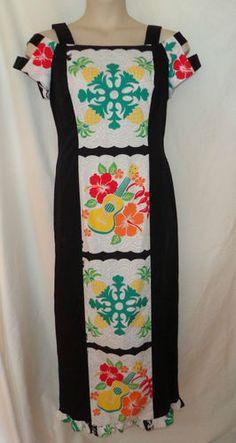 VTG 14/16/1x Plus Size Long Hawaiian Carey Hawaii Maxi Dress~Thick Strap Sleeves