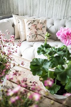 Summer on a romantic cottage patio surrounded in soft pink. Cottage Patio, Romantic Cottage, Live For Yourself, Love Seat, Throw Pillows, Weather, Inspiration, Furniture, Board