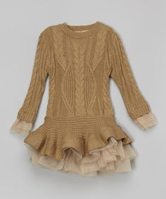 Love this Camel Ruffle Sweater Tunic - Toddler & Girls on #zulily! #zulilyfinds