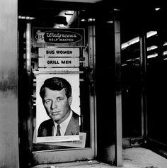Vivian Maier,  //  Robert Kennedy Poster, 1968