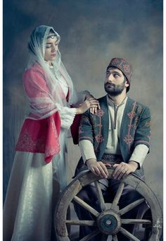 Portrait of an Armenian couple wearing traditional clothes, Armenia - Atelier Marshalyan