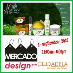 Mañana jueves 1 de septiembre de 2016,  de 11am a 6:00pm los esperamos en Mercado Design en la Plaza de Ciudadela en Santurce.