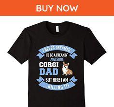 Mens I Never Dreamed I'd Be a... Corgi Dad Dog T-Shirt Medium Black - Animal shirts (*Amazon Partner-Link)