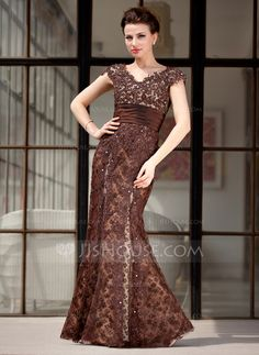 Mother of the Bride Dresses - $176.99 - Trumpet/Mermaid V-neck Floor-Length Taffeta Lace Mother of the Bride Dress With Beading (008018983) http://jjshouse.com/Trumpet-Mermaid-V-Neck-Floor-Length-Taffeta-Lace-Mother-Of-The-Bride-Dress-With-Beading-008018983-g18983?pos=best_selling_items_43