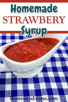 Oh my this strawberry syrup is so good! Easy to make with fresh or frozen strawberries so make sure to make up a batch or two to enjoy all year long. This yummy treat is the perfect topping for ice cream, pancakes, waffles, French toast etc. Jelly Recipes, Fun Easy Recipes, Fruit Recipes, Easy Meals, Dessert Recipes, Easy Canning, Canning Recipes, Homemade Desserts, Homemade Cakes