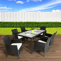 TecTake Poly Ratán sintético Muebles de jardín Conjunto para jardín Comedor Juego mesa 6+1 negro - http://vivahogar.net/oferta/tectake-poly-ratan-sintetico-muebles-de-jardin-conjunto-para-jardin-comedor-juego-mesa-61-negro/ -