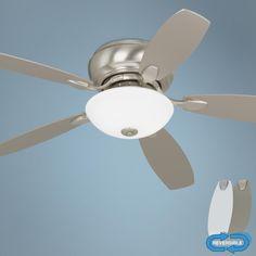 "52"" Casa Habitat Brushed Steel Hugger Ceiling Fan   LampsPlus.com"
