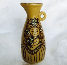 Vintage Bud Vase Jar 70s Flower Girl Pottery Earthenware Jug Brown Ceramic Folk Flowers Lady Holding Bouquet Bohemian Decor by OffbeatAvenue on Etsy