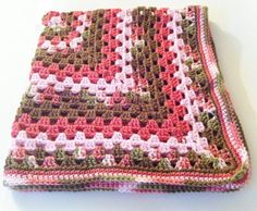 Baby Blanket Granny Square Crochet  Pink & by ValuableCr8tions,