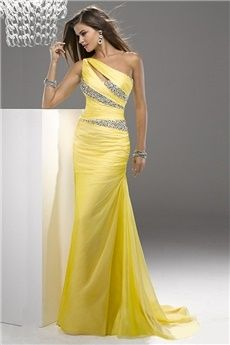 Sheath/Column One Shoulder Court Train Chiffon Prom Dress