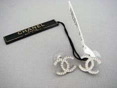 Chanel Cc Logo Earrings Large Silver Crystal New In Box Authentic