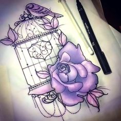 Awesome drawing of the bird cage with rose and bird. . Tags: Creative, Awesome