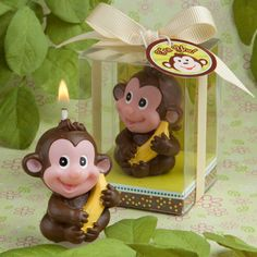 """This is about the cutest birthday candle you'll ever find!  This Jungle Monkey Candle is useful in a couple of ways.  Order just one to use as the cake topper for your youngster's birthday cake, or pick up a """"bunch"""" of them to give away as party favors!  The little brown monkey with a cute pink face is clutching an over-sized yellow banana, and arrives in his own clear plastic gift box.  The box is tied closed with a yellow satin ribbon and bow, and a monkey-themed """"For You"""" tag completes…"""