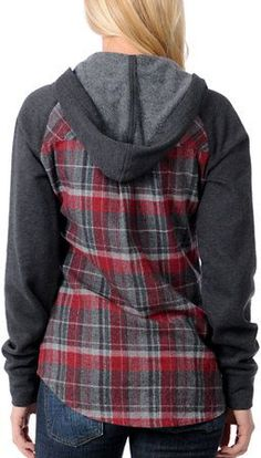 3c7c9940995 Empyre Sycamore Red   Grey Plaid Hooded Flannel Shirt