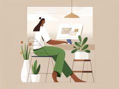 Flat Design Illustration, Simple Illustration, Character Illustration, Website Illustration, My Workspace, Workspace Design, Home Office Setup, Big Windows, Motion Design