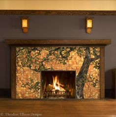 I know it's a fireplace, but I like this for the color combination of the tiles and the plum-ish-chocolate wall. Oak Tree Glass Mosaic for Fireplace Front by Theodore Ellison Designs Craftsman Interior, Interior Exterior, Craftsman Style, Interior Architecture, Craftsman Fireplace, Home Fireplace, Fireplaces, Modern Fireplace, Fireplace Mantels
