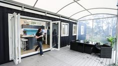 A large 30square-metre covered deck almost doubles the living space.