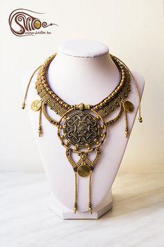 Beautiful ethno necklace Inca Gold. Perfect for tribal fusion dancers. Metallic locket, metallic beads, metallic pendents, wax cord. By Anastasia