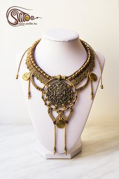 Beautiful ethno necklace Inca Gold. Perfect for tribal fusion dancers. Metallic locket, metallic beads, metallic pendents, wax cord. By Anastasia