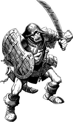 Druzgar is just a loyal orc trooper of the armies of the Darkmaster. His typical day is spent between a raid and a looting, punctuated by the sound of t. A Classic Orc Dnd Characters, Fantasy Characters, Dnd Races, Fantasy Sword, Black And White Artwork, Dnd Art, Sword And Sorcery, Armor Concept, Fantasy Illustration