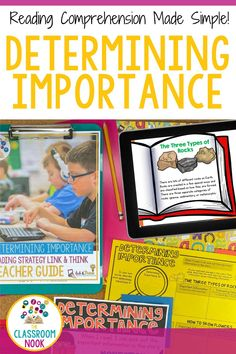 Teach your students about DETERMINING IMPORTANCE while reading through LINKtivity digital learning guides! The perfect hands-on printable & digital resource. Students will love the kid-friendly video, poster, bookmark, and high-interest practice passages with audio options! Also included is a teacher's guide, lesson plans, picture book ideas, rubrics and MORE! Compatible with Google Classroom. Teach determining importance with LINKtivities digital resources! Add to your lesson plans now. New Vocabulary Words, Vocabulary Practice, Reading Is Thinking, Teacher Observation, Student Bookmarks, Teacher's Guide, Reading Comprehension Strategies, Third Grade Reading, Reading Intervention