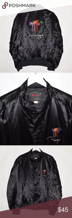Rare Vintage VTG Mirage Las Vegas Satin Jacket Brand: M.A.P.  Item name: Vintage Mirage Las Vegas Hotel Casino Satin Bomber Jacket  Color: Black  Condition: This is a pre-owned item. It is excellent condition with no stains, rips, holes, etc. Comes from a smoke free household.  Size: Men's XL  Measurements:   Pit to Pit - 25 inches  Shoulder to bottom - 27 inches Vintage Jackets & Coats Bomber & Varsity